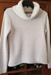 Loft Turtleneck Sweater (white&pink)